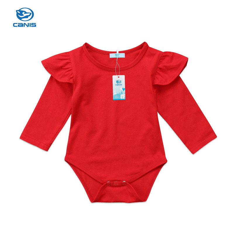 Baby Girl   Romper   Newborn Infant Baby Girls Solid Red Ruffles Long Sleeve   Romper   Jumpsuit Cute Baby Clothes 0-24M