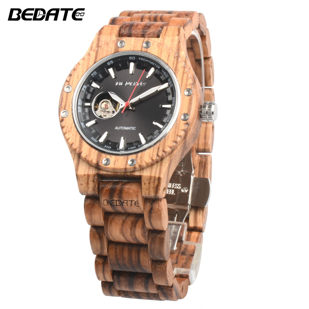 BEDATE 2017 Luminous Hands Relogio Masculino  Business Mechanical Watch Wooden Watch Simple Atmosphere  Reloj Hombre ZS W137A| | |  - title=