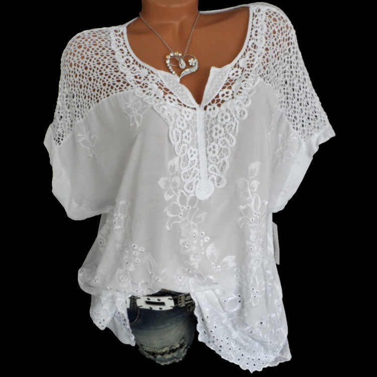 176aad8bb218fe 4XL Women's Lace Blouses Sexy V Neck Short Sleeve Embroidered Batwing Loose  Shirt Summer White Tops