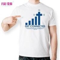 Có được Kết Nối Để Chúa Giêsu Thánh Giá T Shirt Thiết Kế Thời Trang Mô Hình Sáng Tạo t-shirt Mát Casual Novelty Hài Hước Áo Thun Người Đàn Ông Phụ Nữ Phong Cách Top Tee