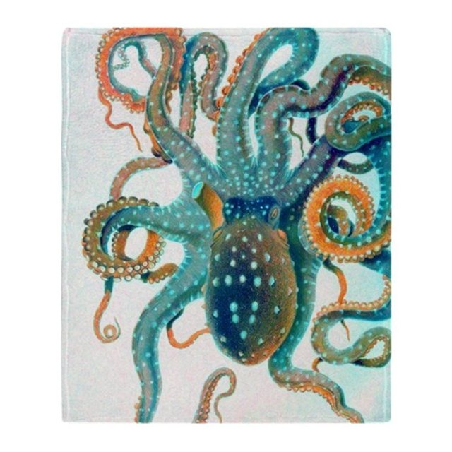 Personalized Colorful Teal Orange Octopus Soft Fleece Throw Blanket Cover  Throw Over Sofa Bed Blanket Home