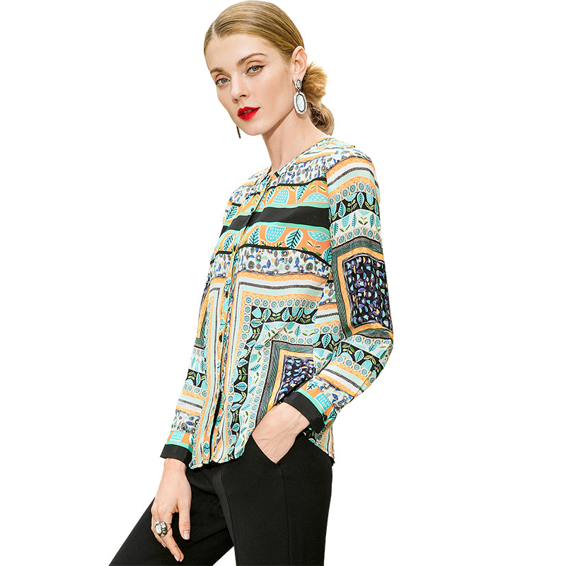 Mode Kamiying La Haut À Rond P9ac003 Chemises Gamme Nouveau 2019 Soie Féminin Printemps Shown Tempérament Style Imprimé Lâche De As Col hdxrtsCQ