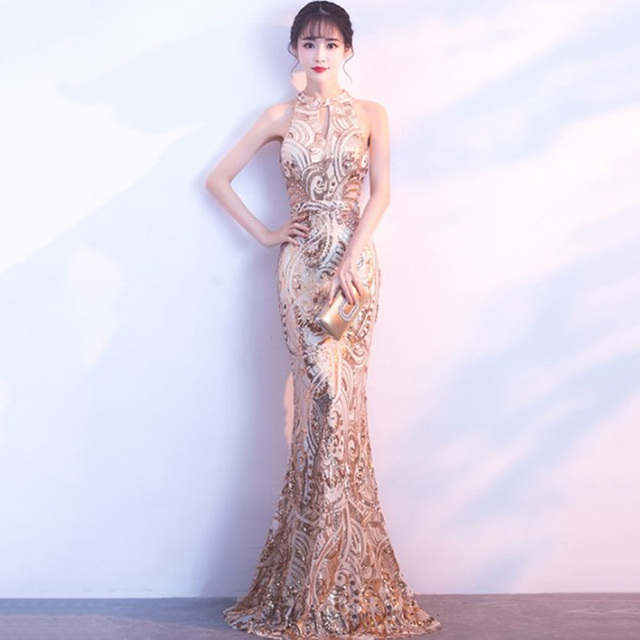 Gold Paisley Sequined Halter Neck Sleeveless Mermaid Long Dress Party  Wedding Luxury Elegant Dresses Club Wear 70e772b9519d