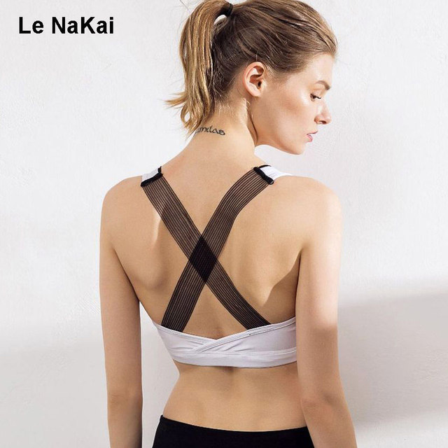 5c7e6d5021b Lace Bandage Cross Strappy Back Women Sports Bra Mesh Pannel Sexy Yoga Bra  Fitness Clothing Gym Padded Workout Brassiere