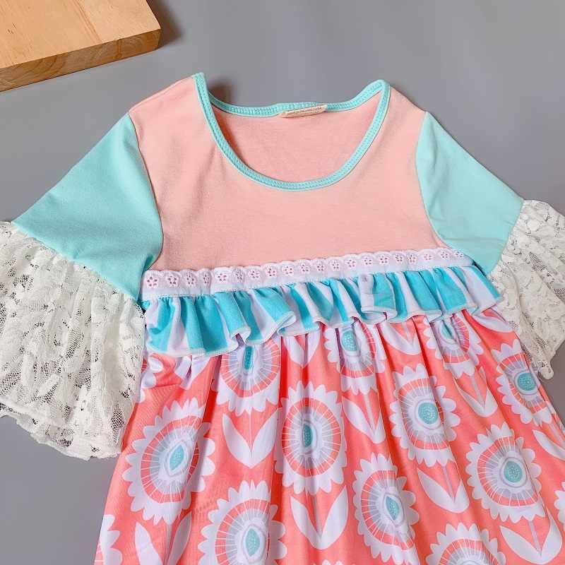 Coralline/платье принцессы с цветочным узором; платье с оборками и геометрическим рисунком для маленьких девочек; платье с расклешенными рукавами для подарка