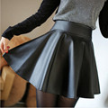 NEW Autumn Skirts Womens Faldas,Saias,Jupe High-Waist Black Faux Leather Skirt PU Leather Skater Skirt Pleated Skirts FA2