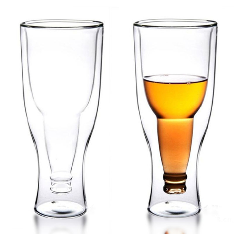 1 pc 350ml Creative Upside Down Double Wall Inverted Beer Mug Beer Glass Drinking Bottle ...