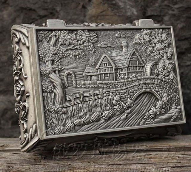 Exquisito chino antiguo Tíbet plata tallada casa puente baratija/joya