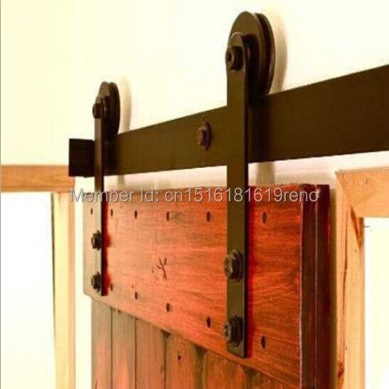 4ft/5ft//5.5ft/ 6ft/6.6ft/7.5ft/8ft/8.2ft Black Antique Style Carbon Steel Sliding Wood Barn Door Closet Hardware Track Kit Building Supplies