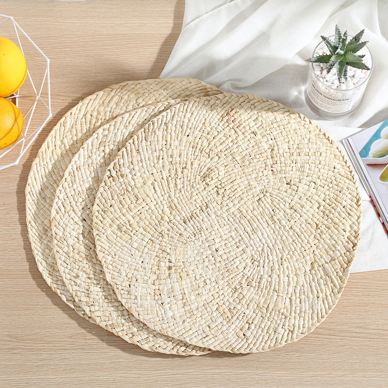 Hand Woven Round Dining Table Decorative Place Mat Non-Slip Heat Resistant Dish Holder Pad Furniture Protector Cover