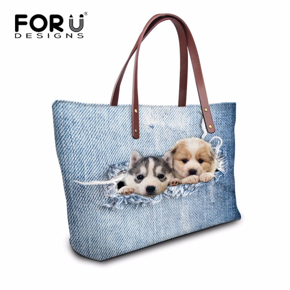FORUDESIGNS Blue Cute Printing Animal Denim Cat Handbag for Women Casual Ladies Shoulder Messenger Bag Neoprene Large Capacity maoxin cute cat head finger grip metal ring kickstand for smartphones blue cats