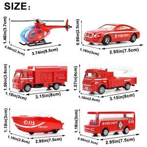 Image 2 - 6 סוגים Diecast אש משאית מיני סגסוגת Glide רכב דגם צעצועי פלסטיק כלי רכב צעצועי מסוק סירת מרוץ מתנות עבור בני ילדים משחק