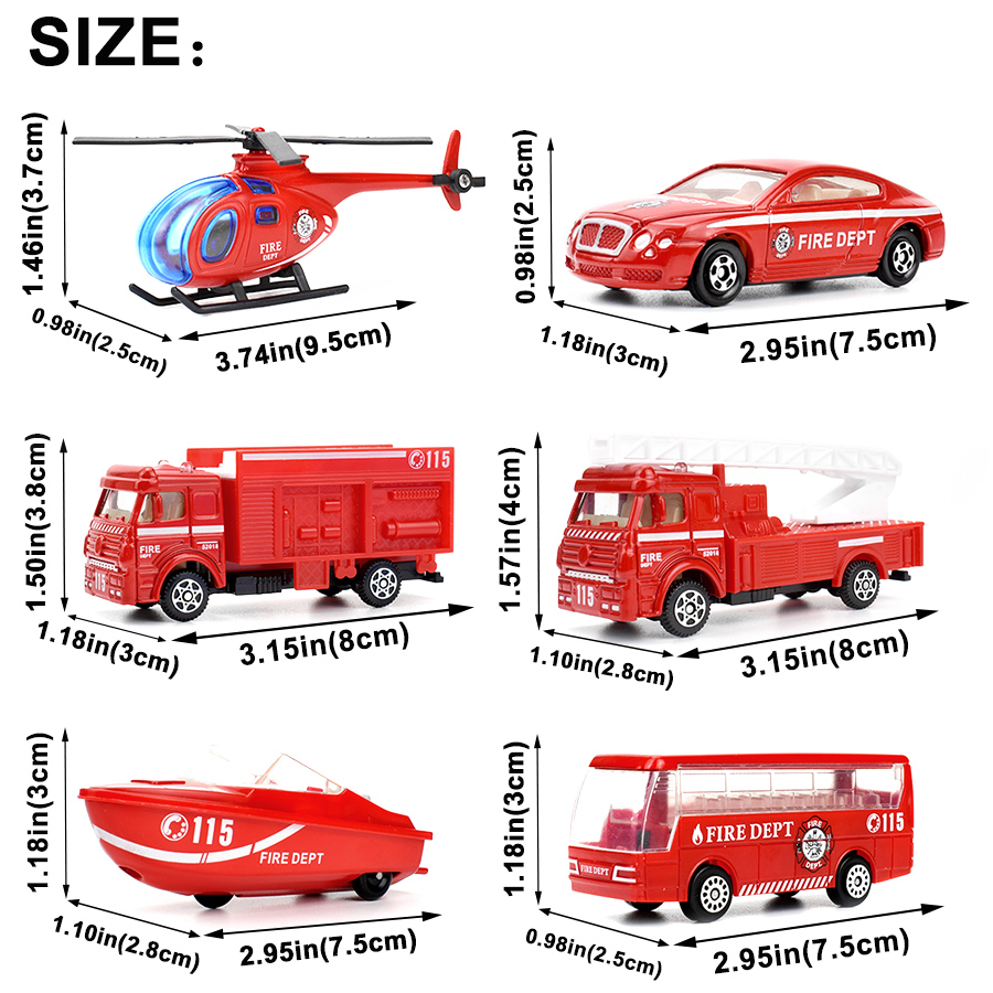 Image 2 - 6 Kinds Diecast Fire Truck Mini Alloy Glide Car Model Toys Plastic Vehicles Toys Helicopter Speedboat Gifts for Boys Kids Game-in Diecasts & Toy Vehicles from Toys & Hobbies