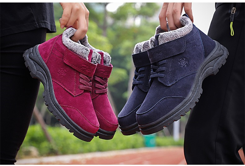 Fashion Winter Snow Boots Women Warm Casual Shoes Lace Up Waterproof Women Ankle Boots Non-Slip Rubber Sole Ladies Shoes XZ85 (11)