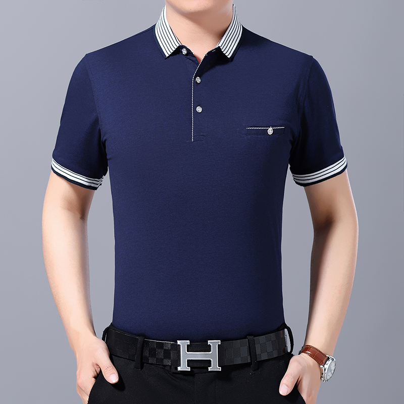Hight quality 2019 Fashion Summer mens short sleeve   polos   shirts cotton solid color mens lapel   polos   casual slim mens tops