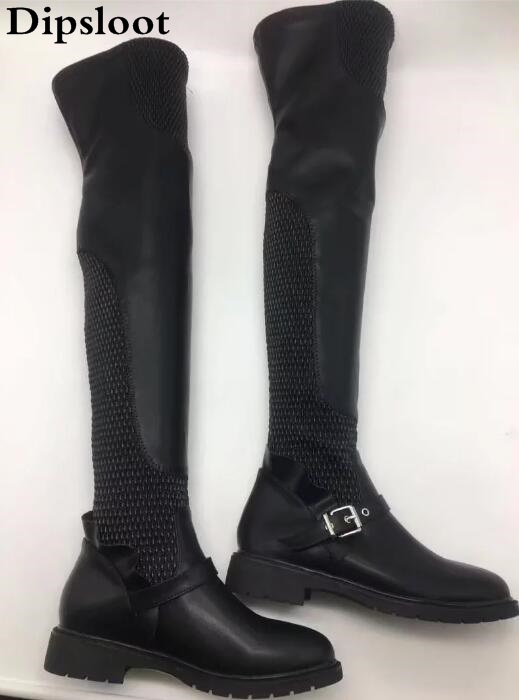 Fall winter square flat heel black leather stretchy long boots buckle strap thigh high over the knee boots for women yougolun women snow boots 2017 winter thigh high over the knee cross strap low square heel fur long plush n 371