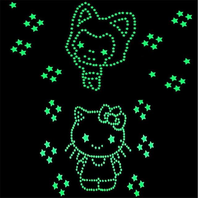 50pcs 3D Stars Glow In Dark Luminous Fluorescent Plastic Wall Sticker Home Decor Decal Wallpaper Decorative Special Festivel 4