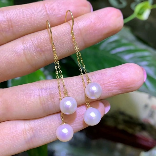 shilovem 18k yellow gold Natural freshwater pearls Drop Earrings fine Jewelry women trendy anniversary  gift myme7-7.5z 2