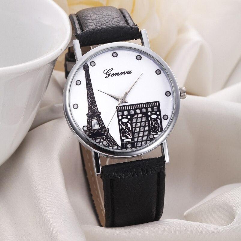 Geneva Women Eiffel Tower Dial Leather Band Analog Quartz Wrist Watch Watches Reloj Mujer luxury brand wristwatch hours zao essence of nature zao essence of nature za005lwdqh82