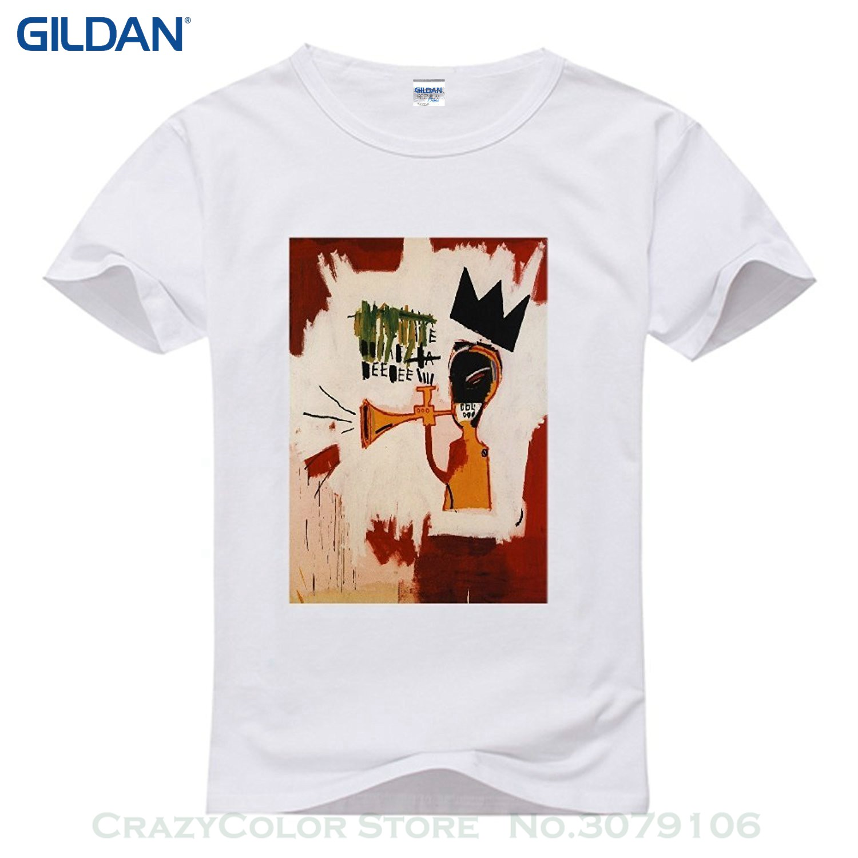 Mens Tops Cool O Neck T-shirt Mens Jean Michel Basquiat Short Sleeve Cotton Diy T-shirt For Men