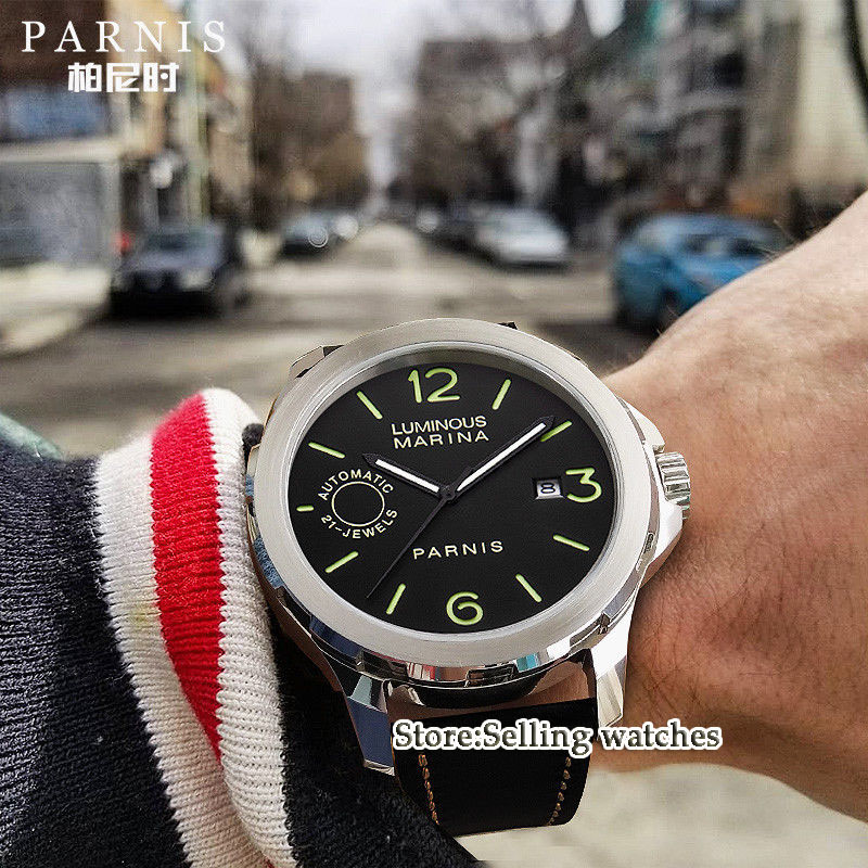 44mm PARNIS Black Dial Stainless Steel Case Sapphire Glass Super Luminous Luxury MIYOTA Automatic Movement Men's Watch