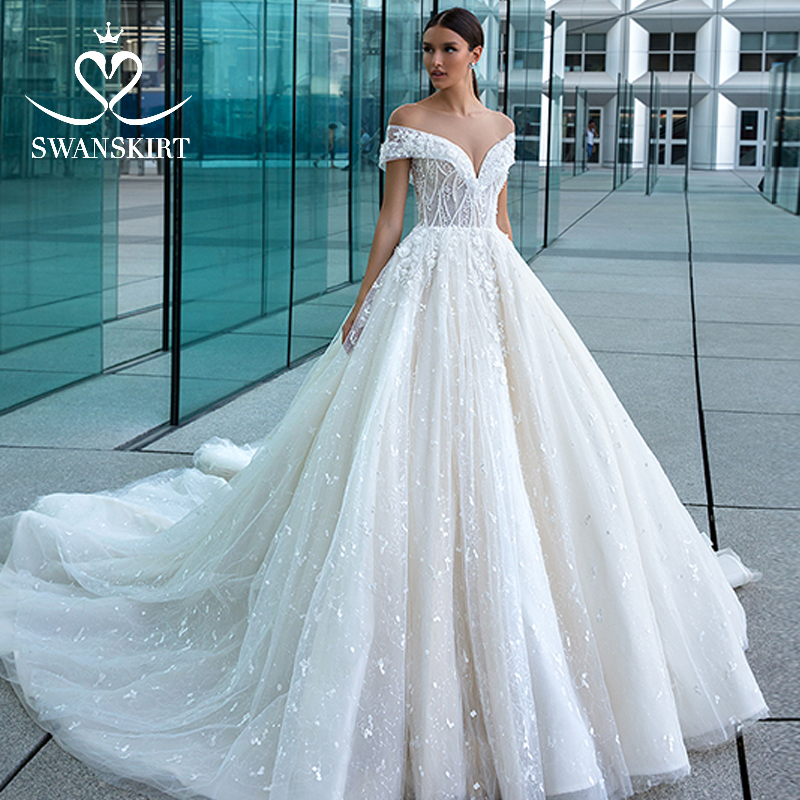 Luxury Off The Shoulder Wedding Dress 2019 Swanskirt Sexy Appliques Beaded Ball Gown Princess Bride Gown Vestido De Noiva F128
