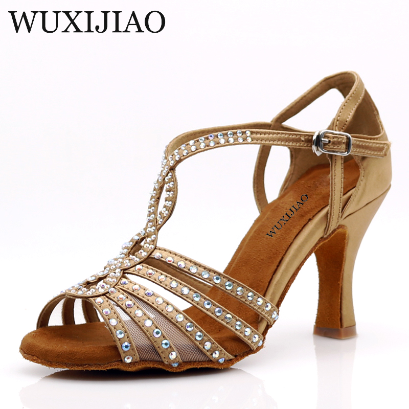WUXIJIAO Latin Dance Shoes Women Flash Satin Brown Wide Thin High Heel 9cm Salsa Performance Ballroom Dancing Shoes