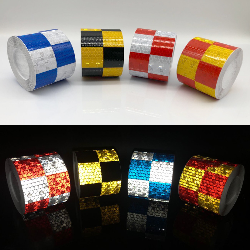 5cm Width Car Decoration Motorcycle Reflective Tape Stickers Styling For Automobiles Safe Material Safety Warning Tape