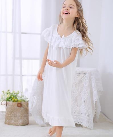 meninas princesa noite vestido para meninas algodao