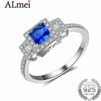 Almei Ocean Blue Vintage Square Crystal Pave AAA+ Stone Finger Ring Women 925 Sterling Silver Wedding Rings with Box 40% JZ102