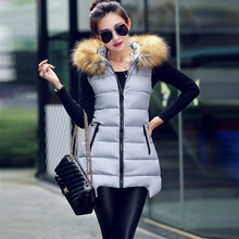 2017 new autumn and winter massive fur collar feather cotton vest feminine Slim lengthy vest jacket feminine LOW LUV