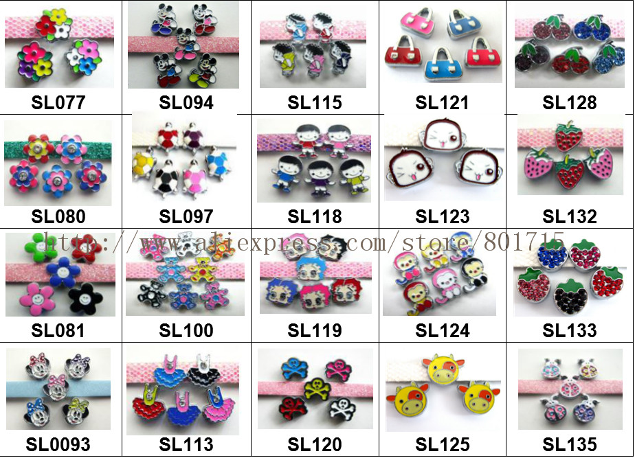 new styles 20 styles for your choice ! 5pcs Internal Dia.8mm slide Charms Jewelry Finding fit 8mm wristband pet collar key chain