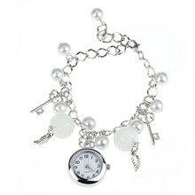 Vintage Vogue Rhinestone Pearl Heart Bracelet Watches Women Quartz Watch Fashion Ladies Elegant Montre Femme RelojHot 0717@
