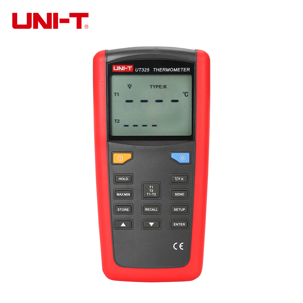 UNI-T UT325 Contact Digital Thermometer T1-T2 Dual Input Temperature Meter Tester with High/Lower Alarm Auto Calibration mastech ms6514 dual channel digital thermometer temperature logger tester usb interface 1000 set data k j t e r s n thermocouple