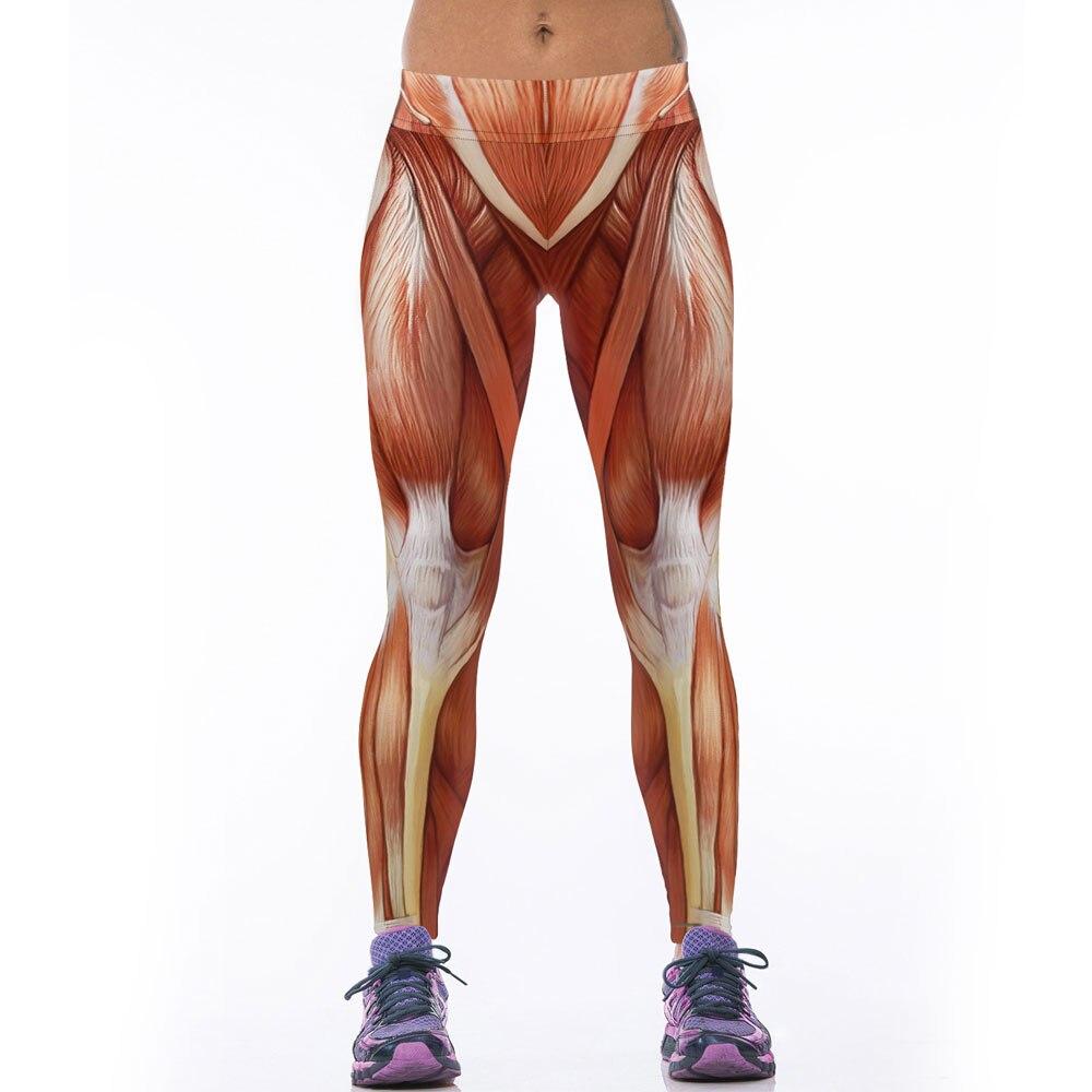 Women Sportswear Bodybuilding Legging Pants Workout 3D Muscle Print Capris Sexy Fitness Leggings Skinny Mallas Mujer Deportivas