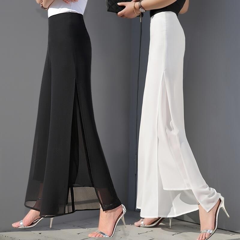 ZOGAA Women's Summer Wide Leg Long Trousers Casual Vintage High Waist Chiffon Side Split Loose Bohemia Skirt Pants Capris Solid