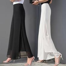 ZOGAA Womens Summer Wide Leg Long Trousers Casual Vintage High Waist Chiffon Side Split Loose Bohemia Skirt Pants Capris Solid