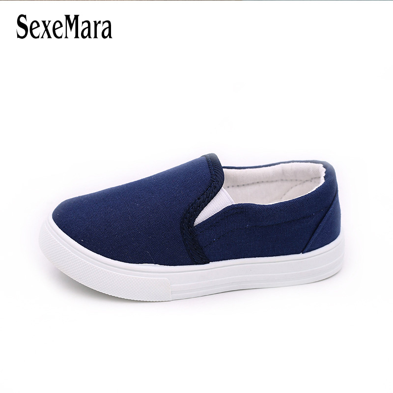 все цены на 2018 Slip On Canvas Children Shoes Sports Breathable Boys Sneakers Kids Shoes for Girls Casual Child Flat Canvas Shoes B03062 онлайн