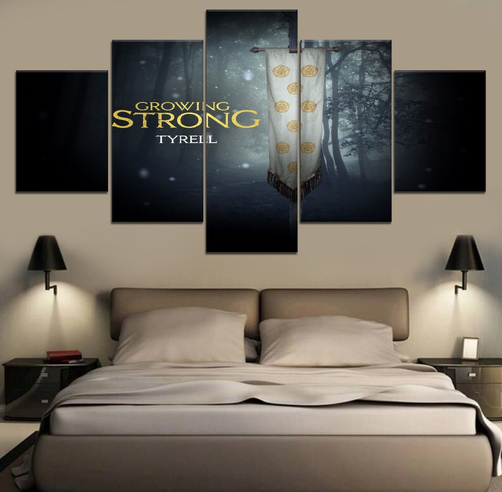 5 Pieces Canvas Painting Game of thrones Movie Poster Modern Home Decor Living Room Wall Art Canvas Print Movie Picture Artwork in Painting Calligraphy from Home Garden