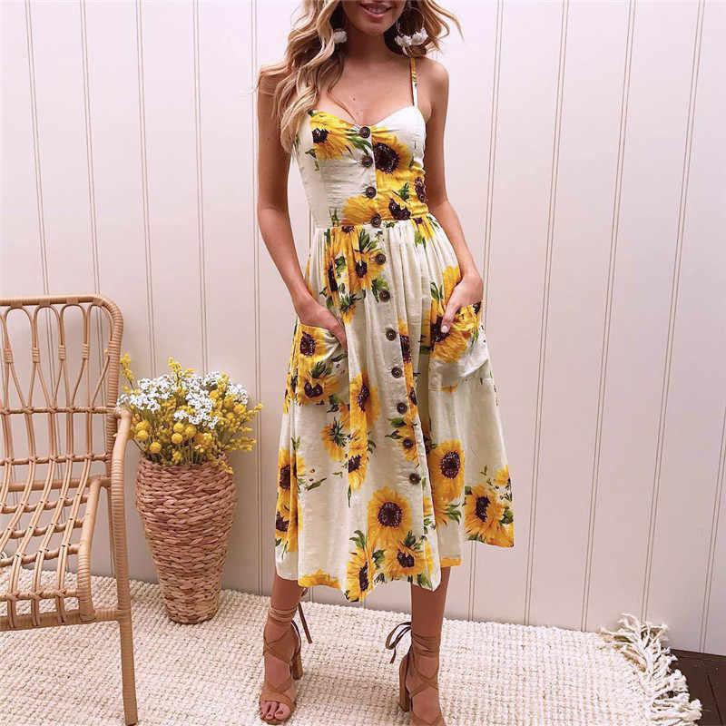 c5dec4b83095 Summer Dress Women 2019 Boho Floral Print Beach Dress Sexy Strap Pockets  Sleeveless Midi Dress Sunflower