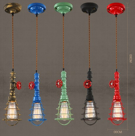 Edison Loft Style Retro Water Pipe Pendant Light Fixtures Vintage Industrial Lighting Dining Room Bar Hanging Lamp Lampara lamp folding wall flex led edison industrial retro loft light vintage dining room bar edison vintage bedroom dining room