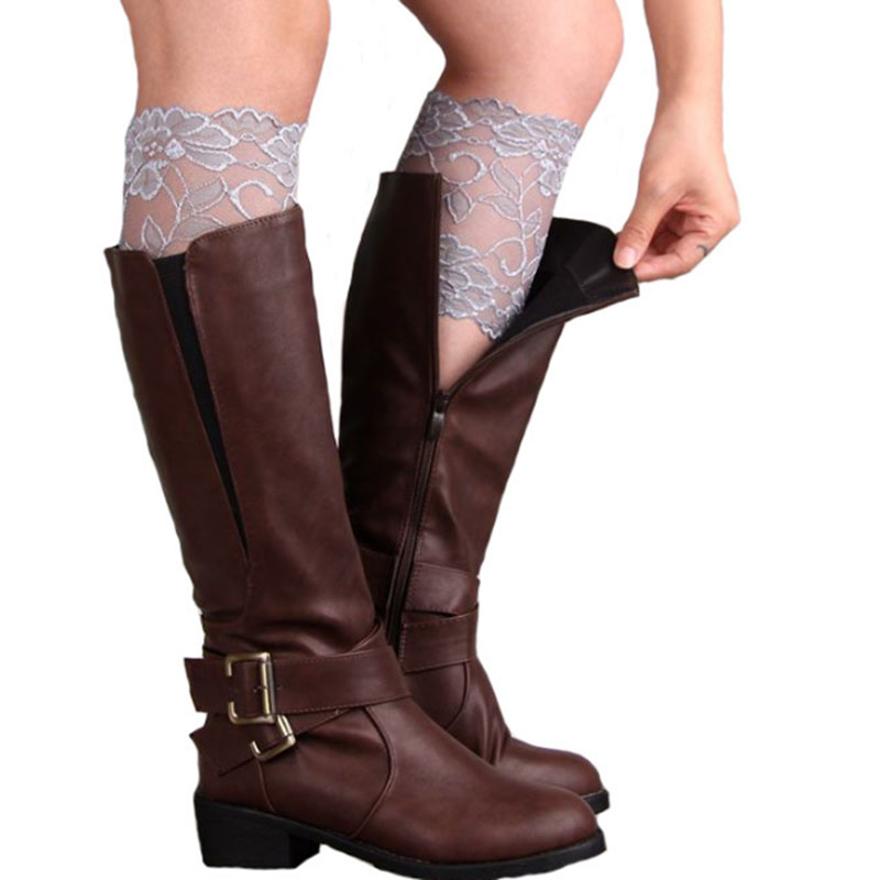 1 Pair 6 Colors New Women Lady Girls Elastic Stretch Flower Lace Boot Cuffs Leg Warmers Trim Toppers Socks Decoration A1-1