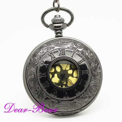 (1001B)Wholesale Victorian Jet Black Roman Numeral Pocket Watch with Velvet Leat