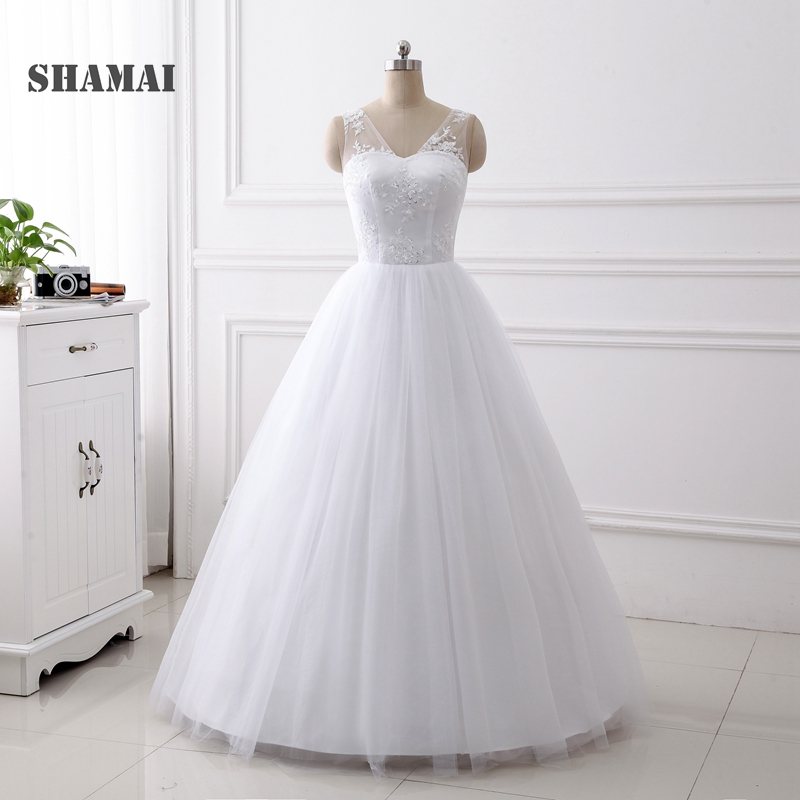 Cheap Plus Size Ball Gown Wedding Dresses: SHAMAI 2018 Wedding Gowns Cheap White Ivory Bride Dress