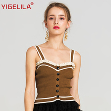 YIGELILA 2017 Latest Women Fashion Sexy Spaghetti Strap Backless Lace Patchwork Short Slim All-match Camis Knitted Tops 7579