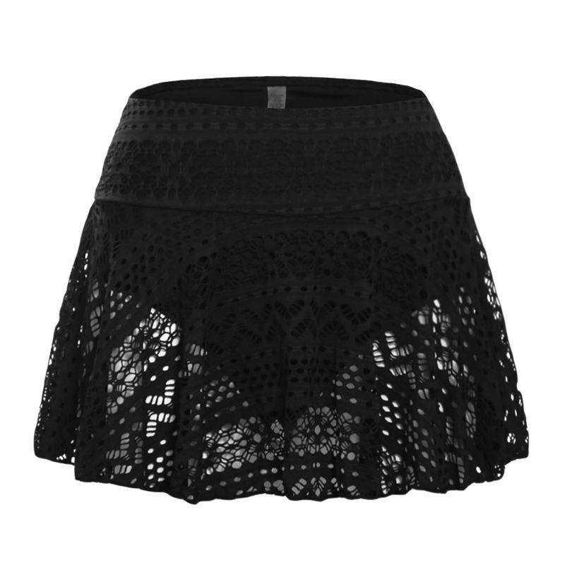 Womens Summer Swim Pleated Swing Skirt High Waist Hollow Out Braided Crochet Bikini Bottoms Geometric Floral Lace Swimsuit
