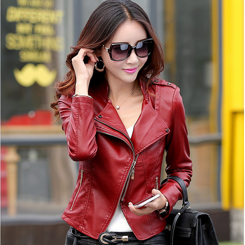 Plus size M-5XL Women's   Leather   Jacket 8 Colors Fashion Slim PU Motorcycle   Leather   Coat Female Skin Coat High Quality
