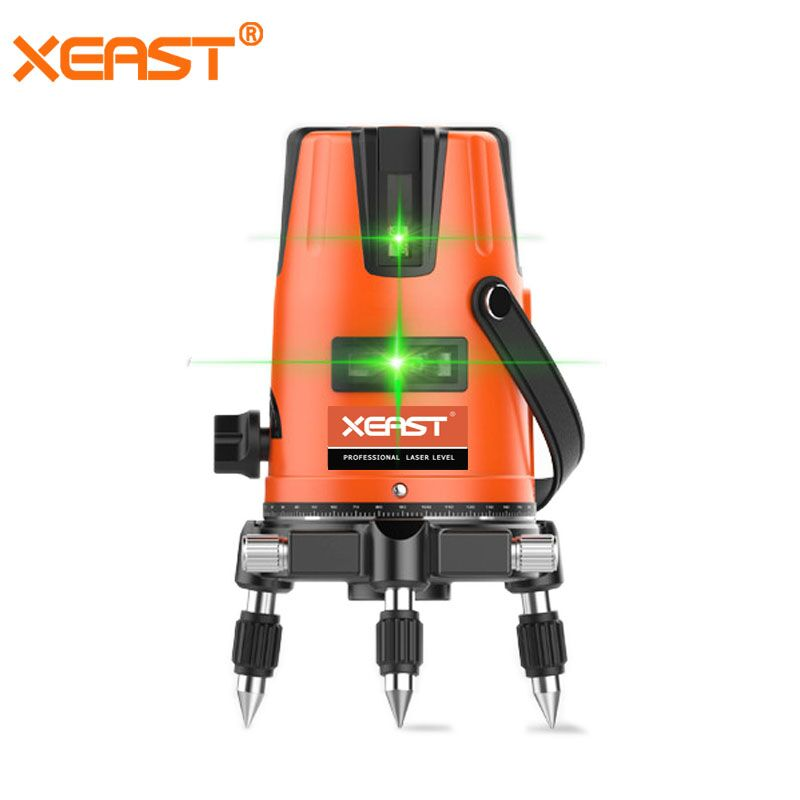 Xeast 5 lines Green Laser Level Meter Powerful Green Laser Beam Line Self Level 360 Vertical and Horizontal Laser Level Tools infrared laser level 2 line level meter cast line instrument