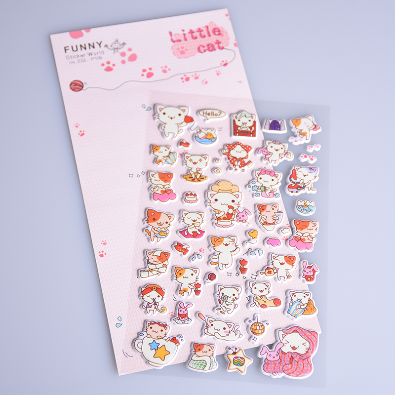 1 Sheet Cartoon Cute Kawaii Cat 3D Bubble Stickers Scrapbooking Diary Phone DIY Sticker font b