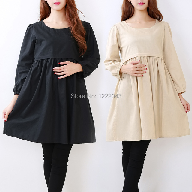 Autumn Maternity Wear Dress Nursing Tops Cotton Breastfeeding Dress For Pregnant Women Maternidade Pregnancy Clothes Gestante